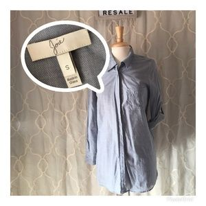 LIKE NEW JOIE POCKET GRAY/LIGHT BLUE BUTTON BLOUSE